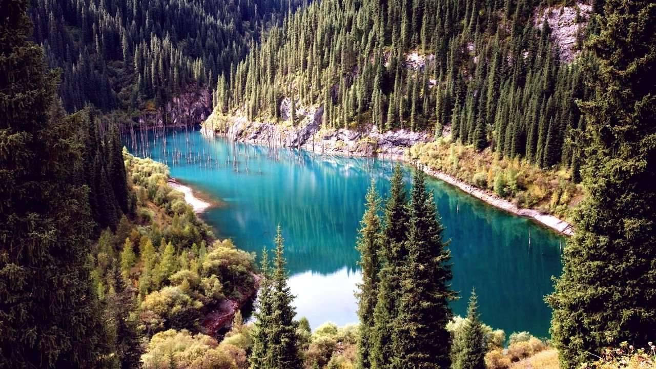 Живописное горное озеро Каинды в Казахстане